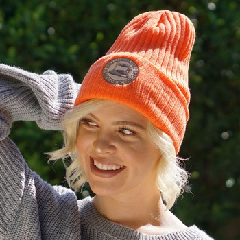 Orange Ribbed Toque Image