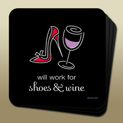 Wine Humor Coaster Shoes & Wine Image