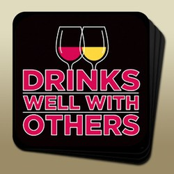 Wine Humor Coaster Drinks Well Image