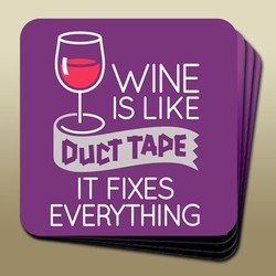 Wine Humour Coaster Duct Tape Image