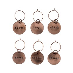 Copper Xmas Wine Charms